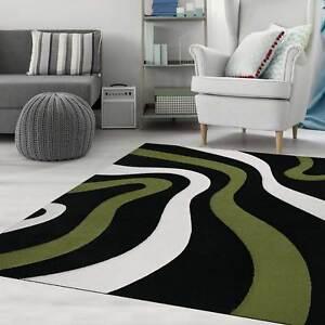 Das Bild Wird Geladen Moderner Designer Teppich Wohnzimmer  Mit Wellen Konturen Schwarz