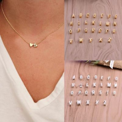 New Women 26 Letters & Heart-shaped Pendant lovers Necklace charm Jewelry gifts