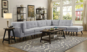 Image Is Loading Contemporary Grey Linen Like Modular Sofa Sectional Living