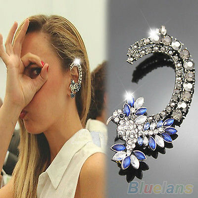 1pc Womens Charming Silver Hummingbird Crystal Iced Out Ear Cuff Clip Earring