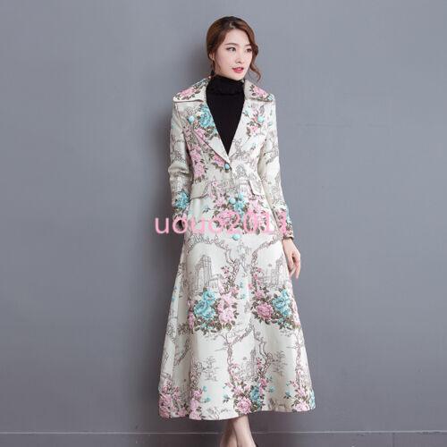 Women Slim Long Style Elegant Floral Lapel Trench Coat Jacket Overcoat Top SIZE