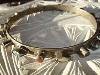 Moroccan tarnished silver colour hand made Tuareg bracelet with stone jewels