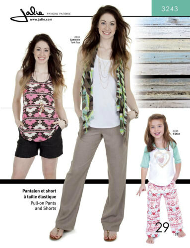 Jalie 3243 Pull-on Straight-Leg Pants /& Shorts Sewing Pattern Misses /& Girls