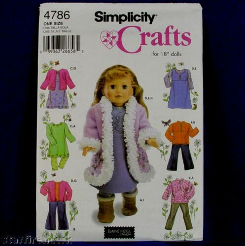 Simplicity 4786 18in Doll Clothes Patterns 7 Designs!