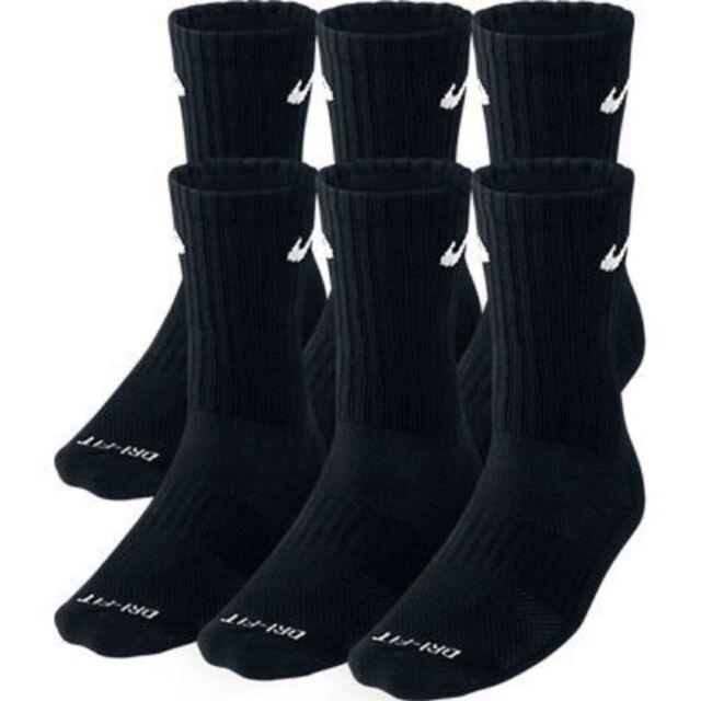 NWT Mens Nike Dri-Fit Crew everyday 6 Pack pairs Socks SX6897-010 Black  Large L