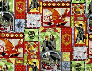 HARRY-POTTER-COTTON-FABRIC-STAINED-GLASS-WINDOWS-HERMIONE-CAMELOT-BY-THE-YARD