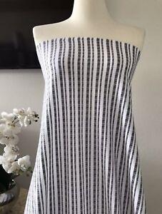 3180846aa334d4 2 Yards Precut Poly Cotton Striped Rib Sweater Knit Fabric White ...