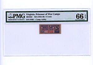 1943-46-05-CENTS-PRISONER-OF-WAR-CAMPS-WW11-RARE-VIRGINIA-NOTE-PMG-66-EPQ