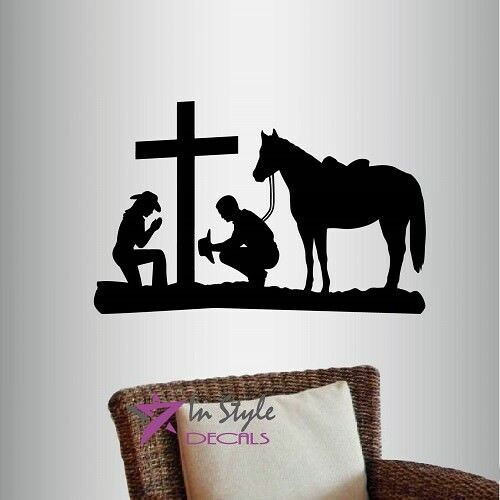 Vinyl decal cowboy and cowgirl praying kneeling cross horse western wall art 788