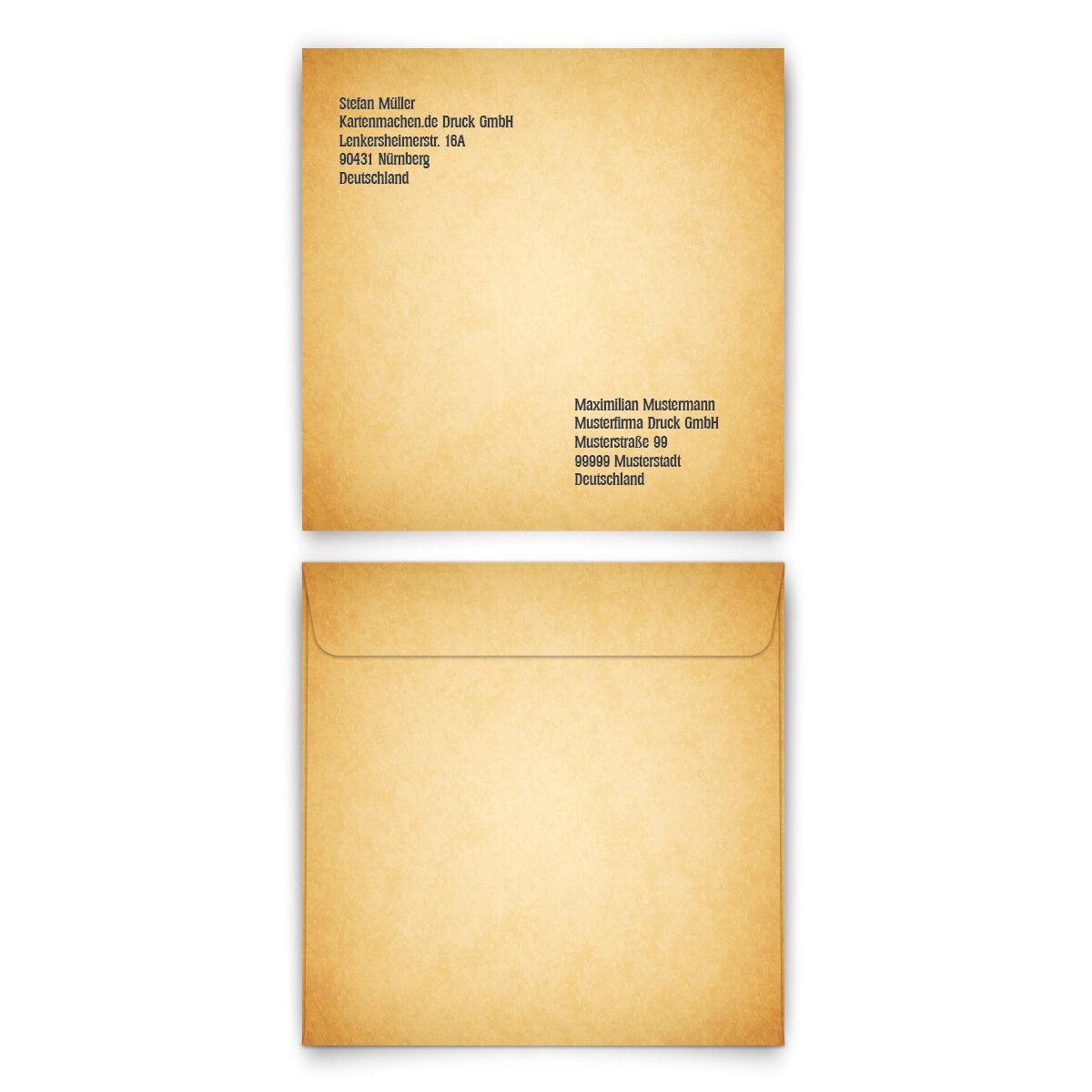 Personalisierte Briefumschläge - Vintage  Gothic  - Quadrat 155 x 155 mm | Geeignet für Farbe  | Elegant Und Würdevoll