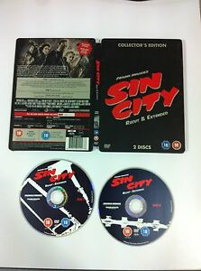 SIN-CITY-Re-Cut-And-Extended-Collector-039-s-Edition-Steelbook-2-X-DVD-BRUCE-WILLIS