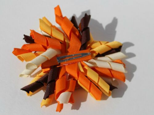 Thanksgiving Turkey Kids Hair Bow Clip curly fun unique Free Shipping USA