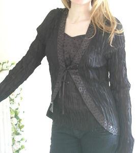 Ladies-Camisole-amp-Jacket-Black-Crinkle-BNWT-UK-Size-12-Sweetheart-Empire