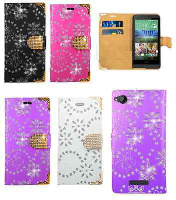 Bling Diamond Flip Leather Wallet Case Cover For HTC Desire 320