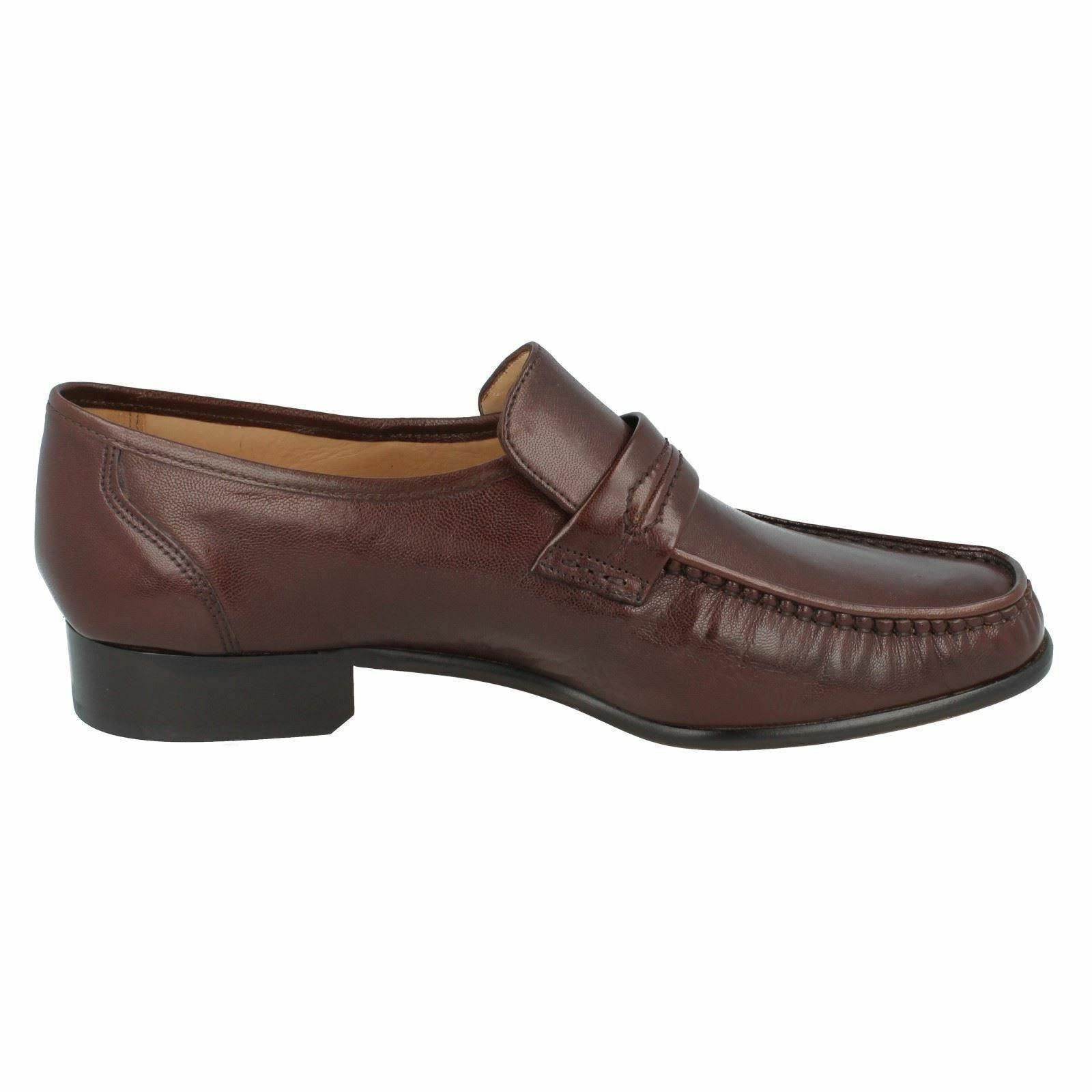 MENS GRENSON SLIP ON FORMAL BLACK LEATHER MOCCASIN STYLE FORMAL ON Schuhe WATFORD G FITTING 2f5639