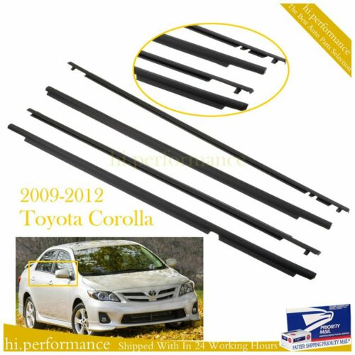 4X FOR TOYOTA COROLLA 2009-2012 CAR WEATHERSTRIP WINDOW MOULDING TRIM SEAL BELT