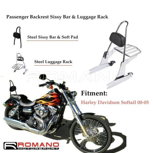Detachable Passenger Back Rest /& Sissy Bar Luggage Rack For Harley Softail 00-05