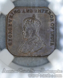Straits-Settlements-1-Cent-1920-MS62-BN-NGC-bronze-KM-32-Frosty-Glossy-Brown