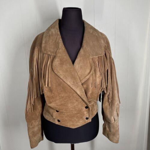 Vintage tan fringe suede Leather Jacket