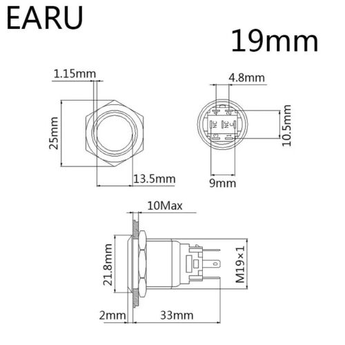 EARU 19mm LED Drucktaster 12-24Volt Grün Vandalismus Taster Auto u.s.w.