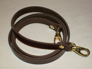 """1//2/"""" DARK BROWN LEATHER SHOULDER BAG REPLACEMENT STRAP GOLD FITTINGS"""