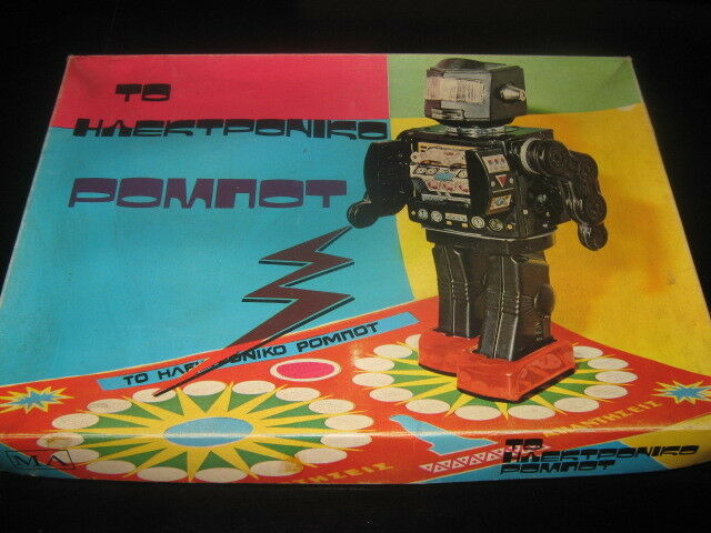 VINTAGE RARE GREEK BOARDGAME - ELECTRONIC ROBOT - QUESTIONS GAME 70s NEW