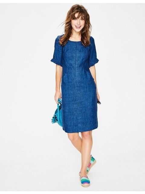 New with tags, Boden Addilyn Linen Dress in Decadence Blau Delave 10L UK   6L US