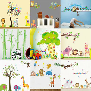 wandtattoo waldtier tiergarten zoo 9 motive wandaufkleber kinderzimmer sticker ebay. Black Bedroom Furniture Sets. Home Design Ideas