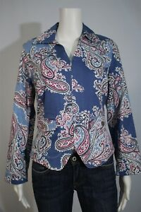 Christopher & Banks Misses SMALL Blue Pink Paisley Zip Up Tailored Shirt Jacket