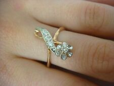 VINTAGE, RUSSIAN ORIGIN 14K ROSE & WHITE GOLD LADIES DIAMOND RING 0.25CT T.W.