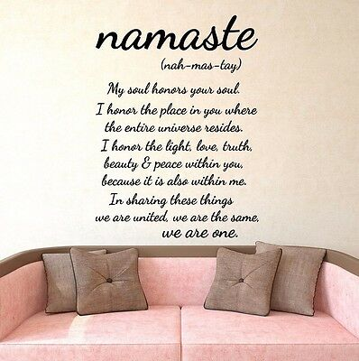 Namaste Wall Decal Quote Vinyl Sticker Decals Quotes Buddha We Are One Decor X45