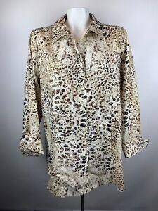 Chico-039-s-Womens-Sz-3-Brown-Animal-Print-Button-Front-Tunic-Blouse-Non-Iron-Cotton