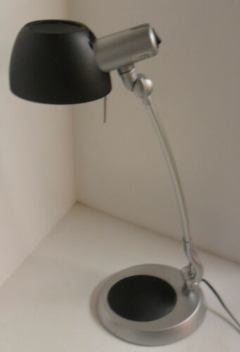 black or orange detail Christopher Wray task reading lamp in grey with blue