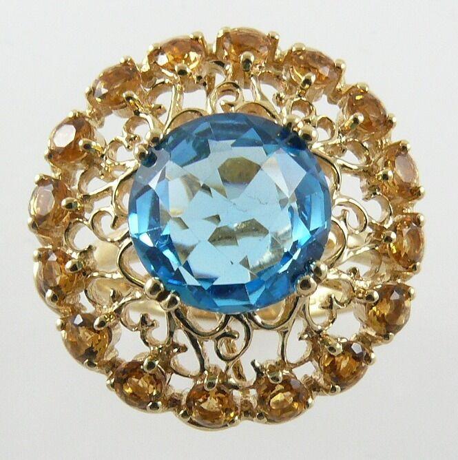bluee Topaz 4.46ct & Citrine 0.96ct Ring14k Yellow gold