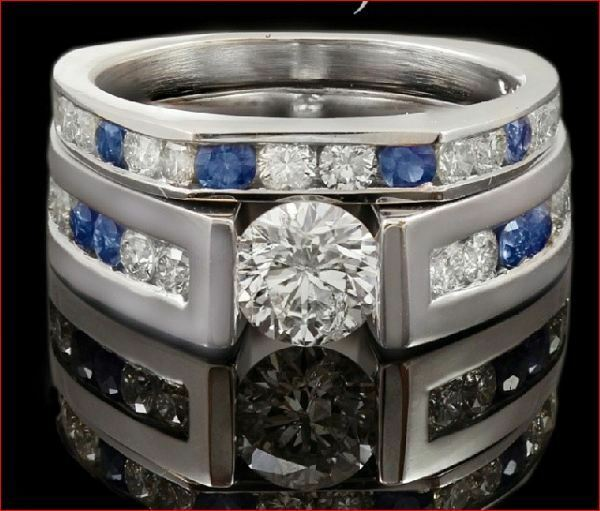 1Ct Round White Moissanite & bluee Sapphire Eternity Wedding Ring 14K White gold