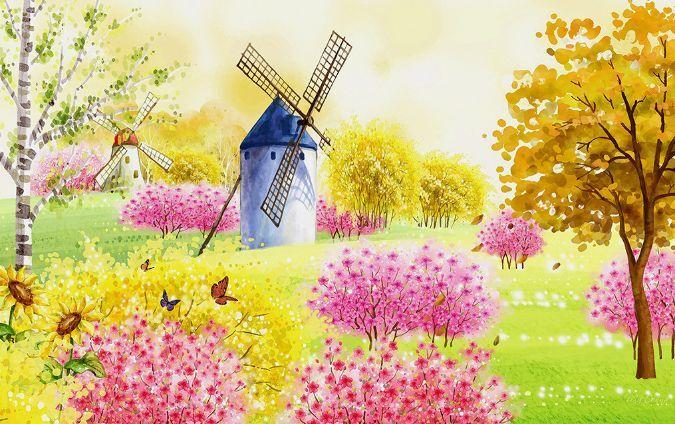 3D Garten Windmühle 635 Fototapeten Wandbild Fototapete BildTapete Familie