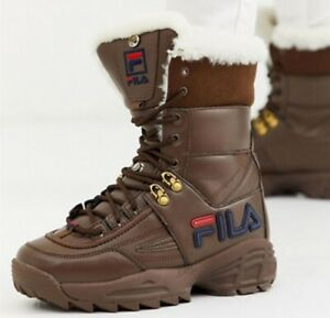 Fila-Disruptor-II-Leather-Boot-shoes-Brown-Navy-White-5HM00545-234-Women-039-s-9