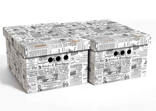 2pc Decorative Storage Boxes Home Office Box Organiser XLarge Newspaper