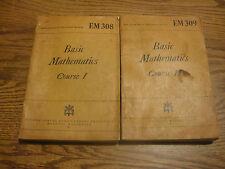 Vtg 1944 WWIl EM 308 & 309  War Dept. Education Manual Basic Mathematics 1 & 2
