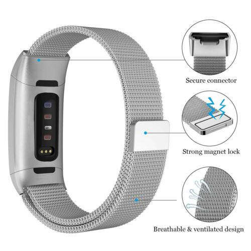 Magnetic Stainless Band Compatible Fitbit Charge 3 /& Charge 3 SE Milanese Loop