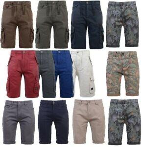 Mens-Crosshatch-Twill-Cargo-Combat-Shorts-Knee-Length-Cotton-Bermuda-Chino-Pants