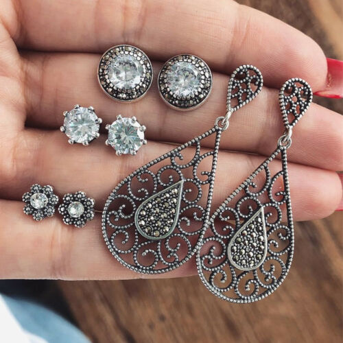 4 Pairs Clear Black Rhinestone Boho Earrings Set Crystal Stud Drop Womens Ladies