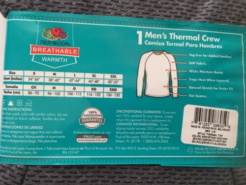 """Fruit of the Loom Breathable Men's Thermal Crew Shirt Size L 42-44"""""""