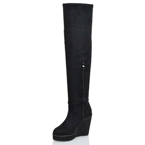 Womens Over The Knee High Platform Wedge Ladies Stretch Long Thigh Leg Boots