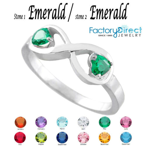 May Dual Heart CZ Birthstone Infinity Sterling Silver Ring Mix Stones!!