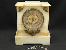 ANTIQUE 19TH CENTURY ANSONIA ONYX & DORE BRONZE MOUNTS MANTEL CLOCK * WORKING