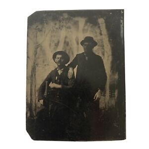 Antique Early Tintype Photograph Handsome Young Cowboys Cowboy Hat Spooky Trees