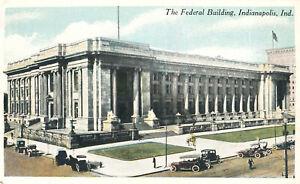 Federal-Building-Indianapolis-Indiana-Postcard-Autos