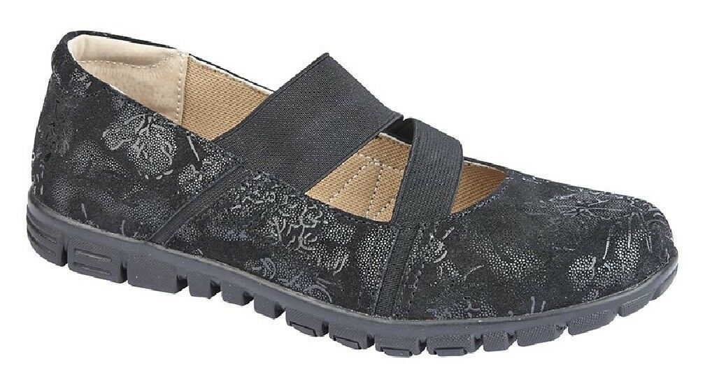 Ladies Boulevard Black Printed Suede Wide Fit Elasticated Casual shoes