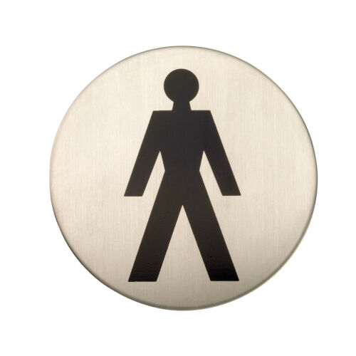 Satin Stainless Steel Round Adhesive Male Toilet Sign